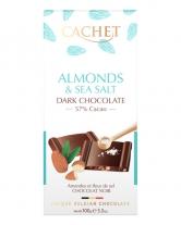 Шоколад Cachet черный с миндалем и морской солью 57%, 100 г