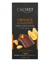 Шоколад Cachet черный с миндалем и апельсином 57%, 100 г