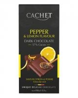 Шоколад Cachet черный с черным перцем и ароматом лимона 57%, 100 г