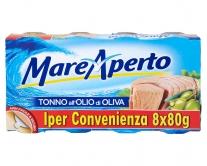 Тунец консервированный в оливковом масле Mare Aperto, 8шт*80г