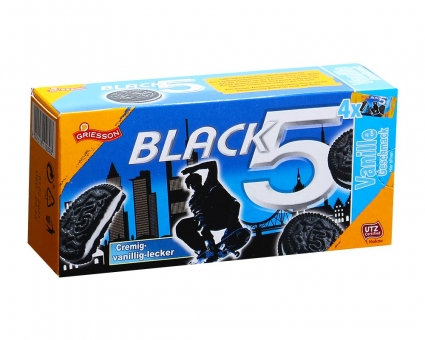 Печенье шоколадное с ванильной прослойкой Griesson Black 5 Vanille, 180 г (4шт*45 г)