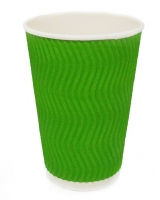 Гофростакан 400 мл зеленый, 15 шт