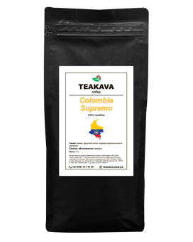 Кофе в зернах Teakava Colombia Supremo, 1 кг (моносорт арабики)