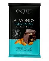Шоколад Cachet черный с миндалем 54%, 300 г
