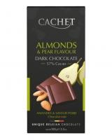 Шоколад Cachet черный с грушей и миндалем 57%, 100 г