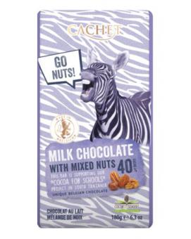 Шоколад Cachet молочный с миксом из орехов 40%, 180 г