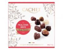 Конфеты шоколадные Cachet с молочным, черным и белым шоколадом, 200 г