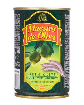 Оливки с анчоусом Maestro de Oliva, 280 г (ж/б)
