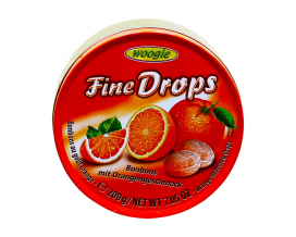 Леденцы со вкусом апельсина Woogie Fine Drops Bonbons mit Orangengeschmack, 200 г