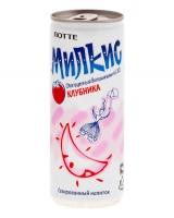 Напиток молочный безалкогольный газированный Милкис Клубника ЛОТТЕ, 250 мл (Milkis Strawberry LOTTE)