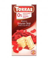 Шоколад белый без сахара, без глютена TORRAS с ягодами годжи 27%, 75 г
