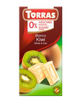 Шоколад белый без сахара, без глютена TORRAS с киви 27%, 75 г