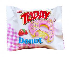 Пончик бисквитный клубничный Elvan TODAY DONUT SRTAWBERRY, 50 г