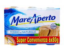 Тунец консервированный натуральный Mare Aperto, 6шт*80г