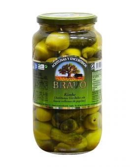 Оливки-гиганты с огурцом Bravo, 1000 г