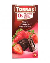 Шоколад черный без сахара, без глютена TORRAS с клубникой 52%, 75 г