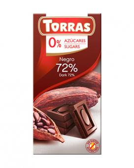 Шоколад черный без сахара, без глютена TORRAS 72%, 75 г