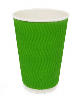 Гофростакан 340 мл зеленый, 20 шт
