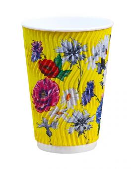 Гофростакан 340 мл цветы, 20 шт