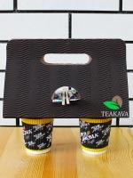 Холдер для стаканов картонный коричнеый, красный, черный (кейс, держатель), 25 шт