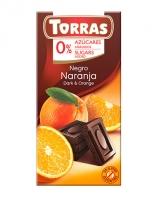 Шоколад черный без сахара, без глютена TORRAS с апельсином 52%, 75 г