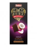 Шоколад черный без сахара, без глютена TORRAS Zero Coco с кокосом 47%, 125 г