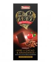 Шоколад черный без сахара, без глютена Torras Zero с какао и клюквой 52%, 125 г