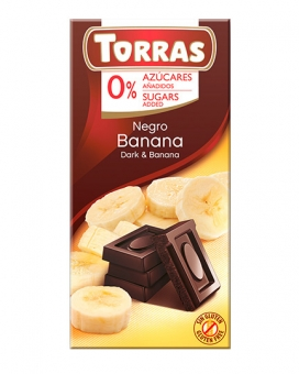 Шоколад черный без сахара, без глютена TORRAS с бананом 52%, 75 г