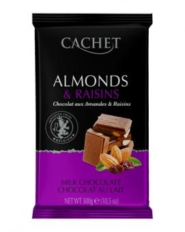 Шоколад Cachet молочный с миндалем и изюмом 32%, 300 г