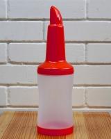 Бутылка с гейзером + крышка, 1 л, красная (диспенсер, дозадор)