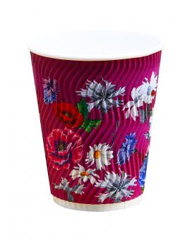 Гофростакан 400 мл цветы, 15 шт