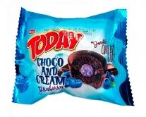 Кекс шоколадный с шоколадно-черничным кремом Elvan TODAY CHOCO AND CREAM Blueberry, 50 г