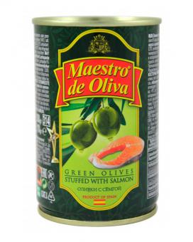 Оливки с семгой Maestro de Oliva, 280 г (ж/б)