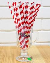 Трубочка коктейльная бумажная, витая, бело-красная d6, 20 см, 25 шт