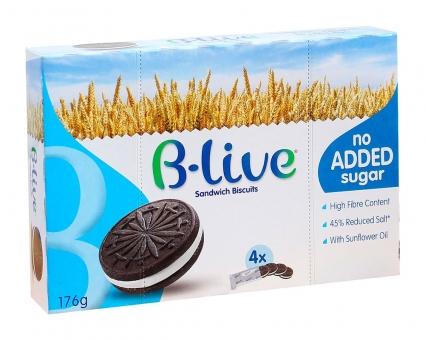 Печенье без сахара, шоколадный сендвич B-live, 176 г
