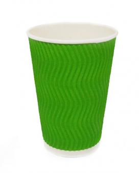 Гофростакан 300 мл зеленый, 20 шт