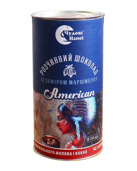 Горячий шоколад Чудові напої American с зефиром маршмеллоу, 200 г (тубус)
