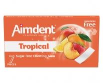 Жевательная резинка без сахара со вкусом тропических фруктов Aimdent TROPICAL, 7 шт/уп