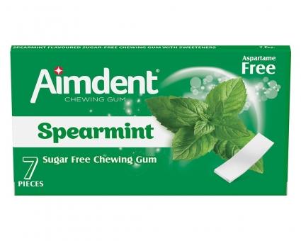 Жевательная резинка без сахара со вкусом зеленой мяты Aimdent SPEARMINT, 7 шт/уп