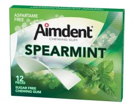 Жевательная резинка без сахара со вкусом зеленой мяты Aimdent SPEARMINT, 12 шт/уп