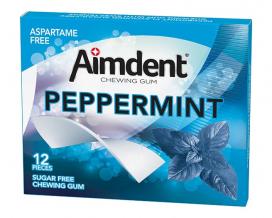 Жевательная резинка без сахара со вкусом перечной мяты Aimdent PEPPERMINT, 12 шт/уп