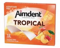 Жевательная резинка без сахара со вкусом тропических фруктов Aimdent TROPICAL, 12 шт/уп
