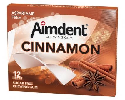 Жевательная резинка без сахара со вкусом корицы Aimdent CINNAMON, 12 шт/уп