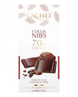 Шоколад Cachet экстра черный с какао-бобами 70%, 100 г
