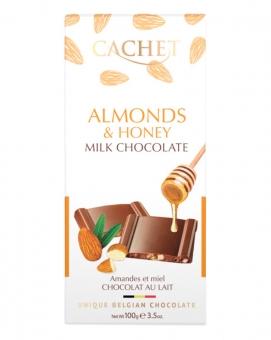 Шоколад Cachet молочный с миндалем и медом 31%, 100 г