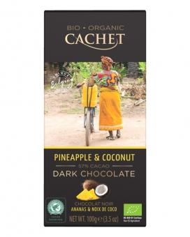 Шоколад Cachet Bio Organic черный с кокосом и ананасом 57%, 100 г